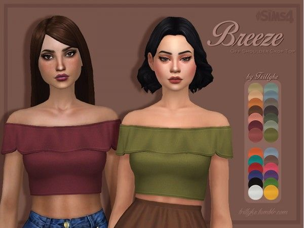 Trillyke: Breeze - Off Shoulder Crop Top • Sims 4 Downloads