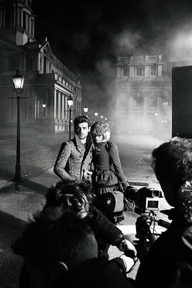 Behind the scenes of the new cinematic Burberry campaign for Autumn/Winter 2012, featuring actress Gabriella Wilde and musician Roo Panes. Shot in the Old Royal Naval College, Greenwich by Mario Testino.: Man Style
