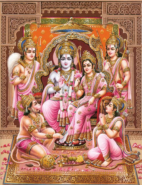 Lord Ram with his wife Goddess Sita and siblings, Lakshmana,Bharata and Shatrughna.