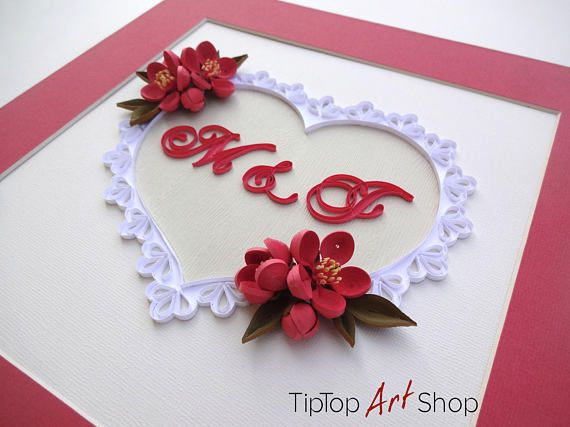 Quilling Art Paper Anniversary Gift - Quilled Monogram in Lace Heart ...