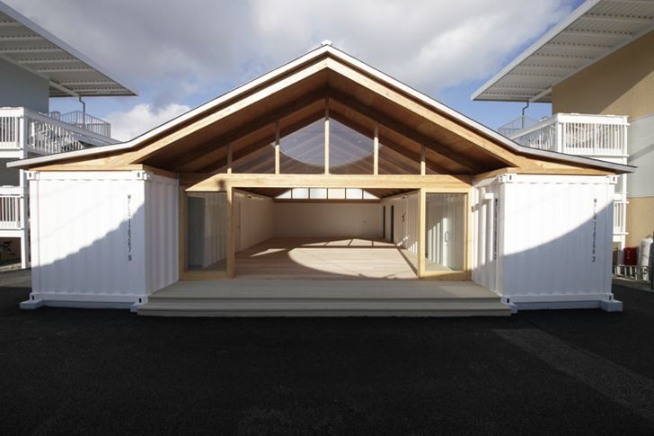 shipping container garage plans shigeru bans temporary. Black Bedroom Furniture Sets. Home Design Ideas