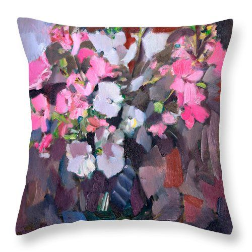 Flowers Throw Pillow featuring the painting Lavatera Near The Window by Nikolay Malafeev