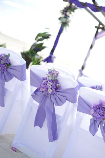 Big Day Weddings, Beach Weddings, Purple Beach Setup, Purple Color Scheme, Purple Wedding Theme, purple beach wedding, purple beach wedding setup, purple chair sash