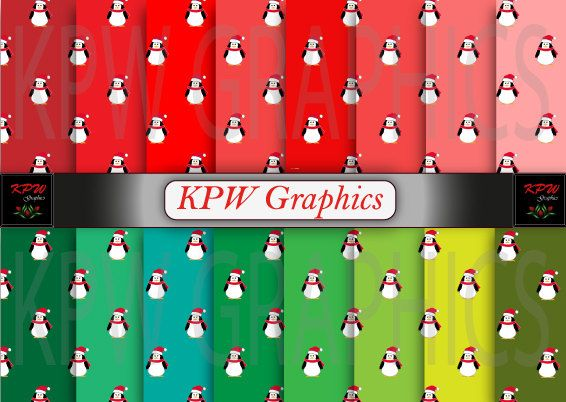 Set of 16 Christmas Penguins with Red and Green by KPWgraphics