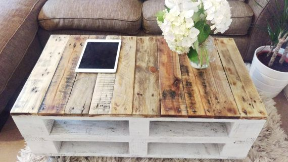 Reclaimed Wood Coffee Table LEMMIK in Farmhouse Style, Boho Storage Table, Unique Rustic Pallet Table made of Solid Wood, Botanical Decor