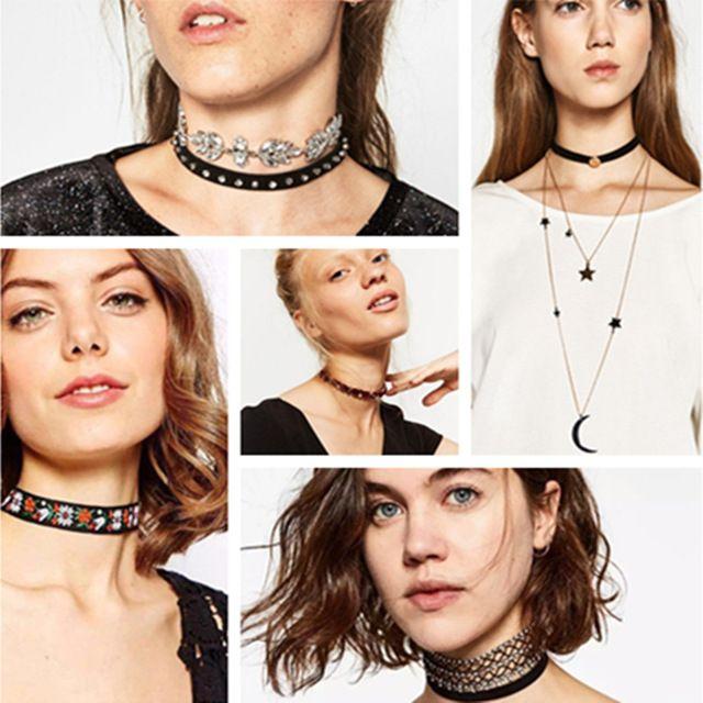 Gargantilha De Veludo preto 2016 Colar de Pingente de 2 Camadas de Cristal Declaração Collar Mulheres Moda Couro Cadeia Chocker Gótico Jóias