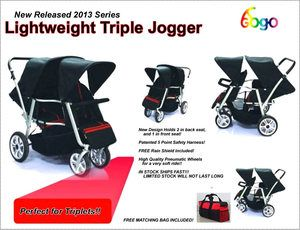 Newly Designed Triple Triplet Baby Jogger Stroller Infant Roller Outdoor Chair | eBay