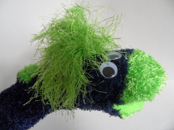 "Seahawks mascot puppet for sale ""Blitz""-Sock Hand Puppet for Adoption by Ruhammie on Etsy"