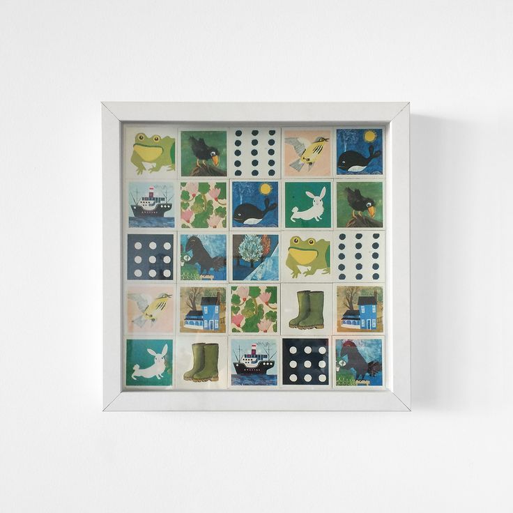 Vintage Memory game from 1959 in a clean white frame. Typical Scandinavian drawing style gives this framed game the most populair vintage look to give your room a stylish twist.