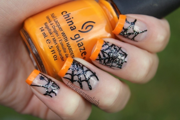 Spider web french tip halloween Nails