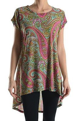 Paisley Print Short Sleeve Asymmetrical Hi-Low Hem Long Tunic Top Shirt