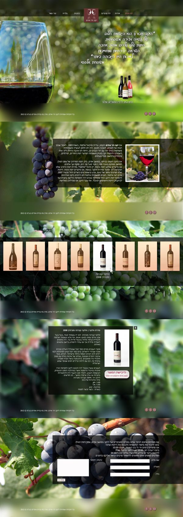 Odem Mountain Winery - web design by Moran Bazaz  http://www.behance.net/gallery/Odem-Mountain-Winery-web-design/9478643