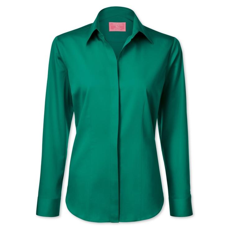 Green Plain stretch semi-fitted shirt | Women's shirts from Charles Tyrwhitt, Jermyn Street, London  £29.95
