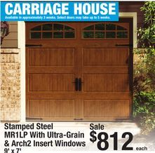 Stamped Steel MR1LP with Ultra-Grain & Arch2 Insert Windows 9' x 7' Carriage House Garage Door from Menards $812.00 (15% Off) - >