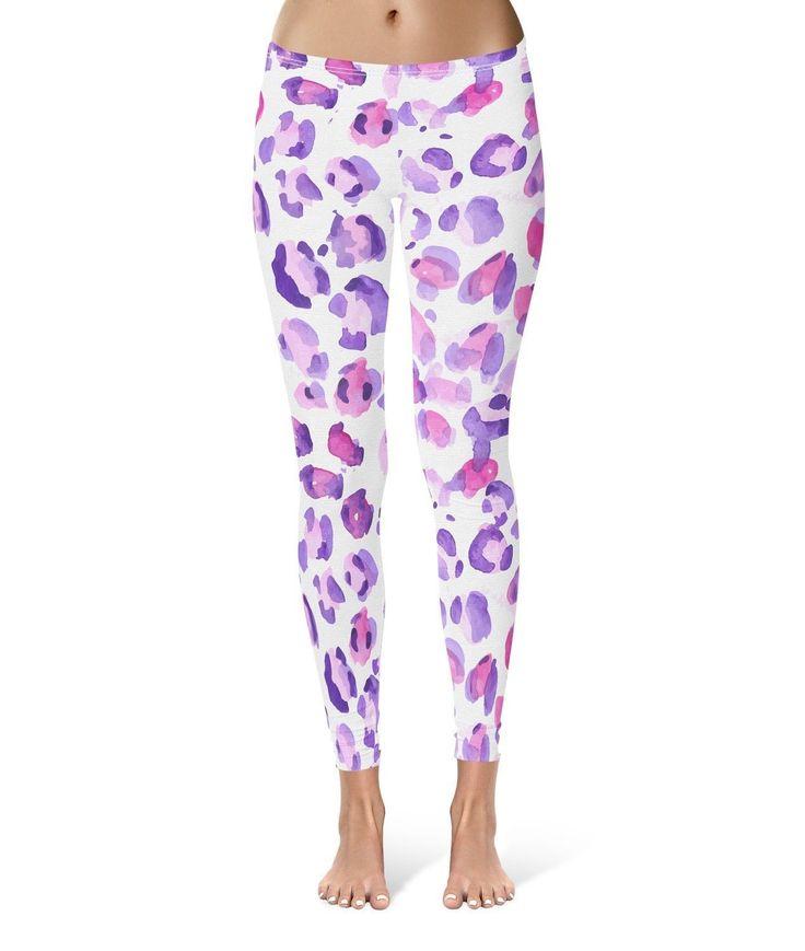 Purple Leopard Print Leggings For Women Sizes Xs-3Xl Lycra Gym Yoga Full Length