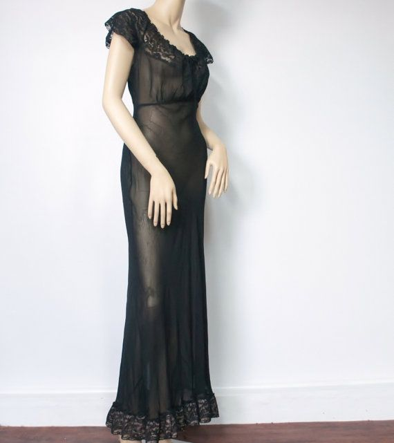 1930's Nightgown Black Nightgown Sexy by VintageAgelessThings