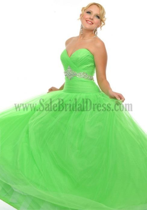 white and lime green wedding dresses   Designer Ball Gowns For Prom Dark Green Light Yellow Organza ...