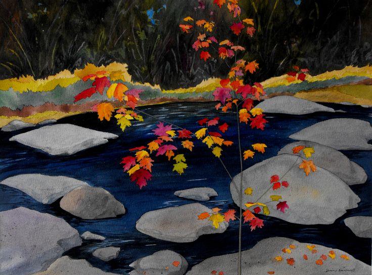 """Fall Creek"".  Dennis Kalichuk original watercolour painting."