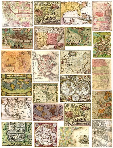 Free, printable sheets of vintage maps, Valentines Day cards, flowers, etc