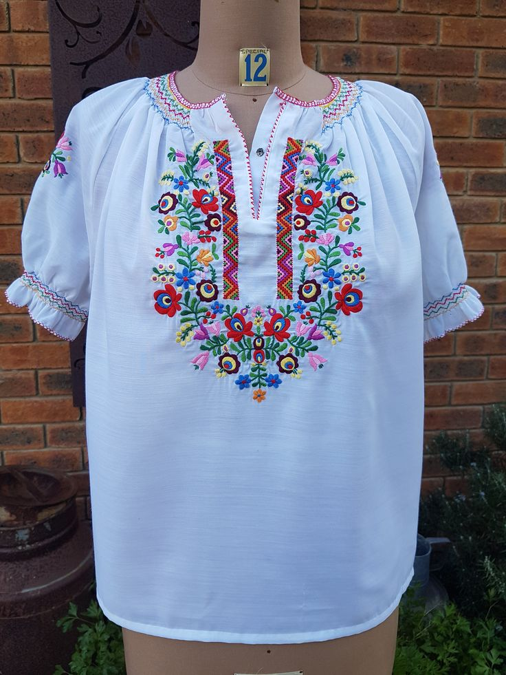 60s 70s Boho Hippie Oktoberfest Music Festival Embroidered Smocked Peasant Top Blouse Size M by VintageGuardian on Etsy