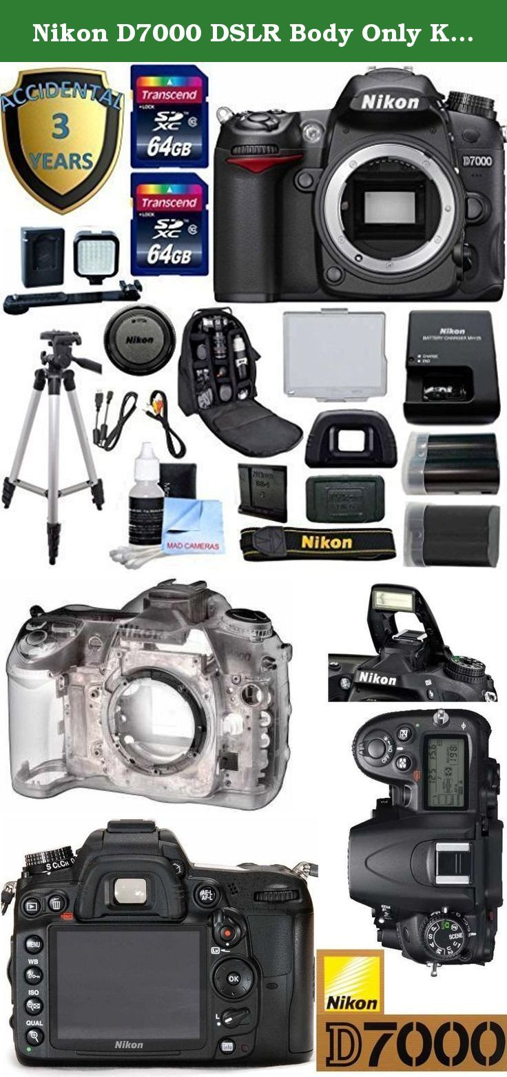 """Nikon D7000 DSLR Body Only Kit - International Version + 3 Year Accidental Warranty + 2 64GB Transcend SD Cards + LED Video Light Kit + Spare EN EL15 Battery + Deluxe Padded Back Pack + 50"""" Tripod. This Nikon D7000 DSLR Kit Includes: 3 Year Accidental Warranty For Repairs Up to $500 - Covers Water Damage, Accidental Damage, Malfunctions, Annual Cleaning, 29 Point Diagnostic EN-EL15 Lithium-Ion Battery + MH-25 Quick Charger Spare EN EL15 Battery For Nikon Rechargeable LED Lighting Kit 2…"""