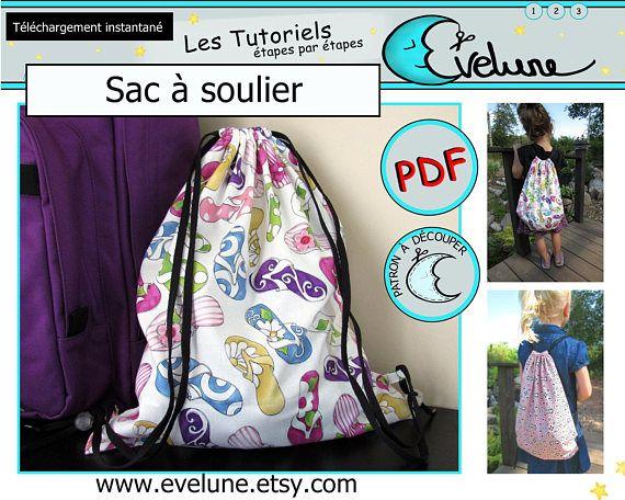 Sac à soulier PDF / Patron Français / sac à dos / sac