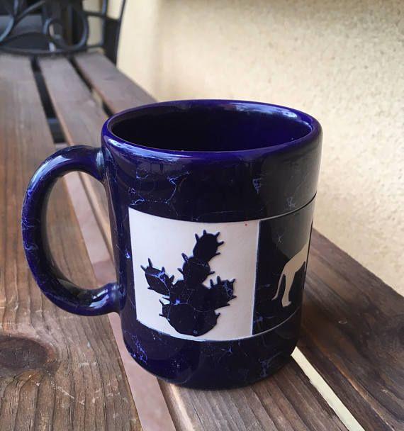 Blue Ceramic Mug Cactus Mug Coyote Mug Cactus Cup Blue