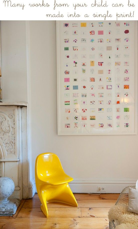 Great way to display all those drawings from the kids without covering every inch of the wall.