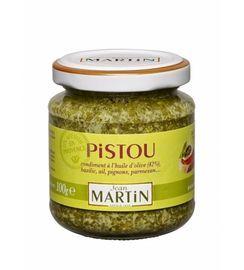Pesto saus uit de Provence van Jean Martin Een aromatische melange van basilicum, knoflook, pijnboompitjes,  Parmezaanse kaas en olijfolie. Deze pesto is heerlijk als basis voor visgerechten, pasta of een salade met tomaat en mozarella