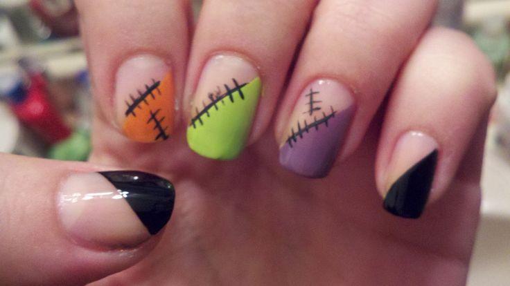 Colorful Half Diagonally Nail Art Design Ideas With Stitches Motif Ideas