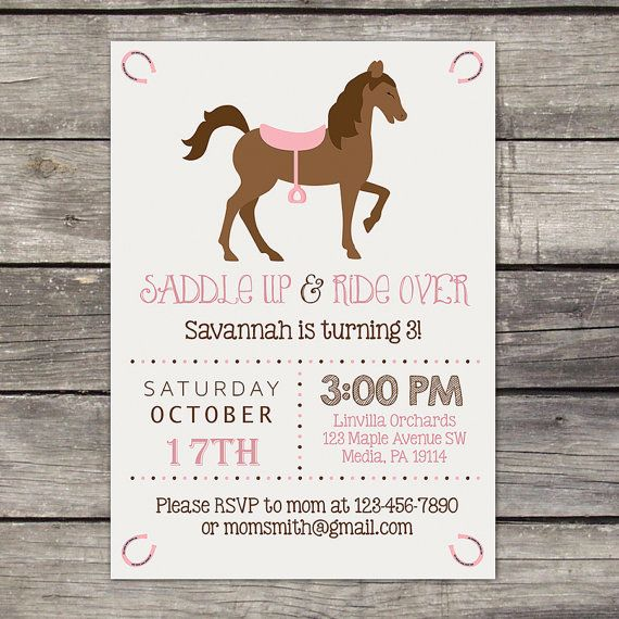 WE PRINT Pony Party Invitation Cowgirl Birthday by PartyPrintery