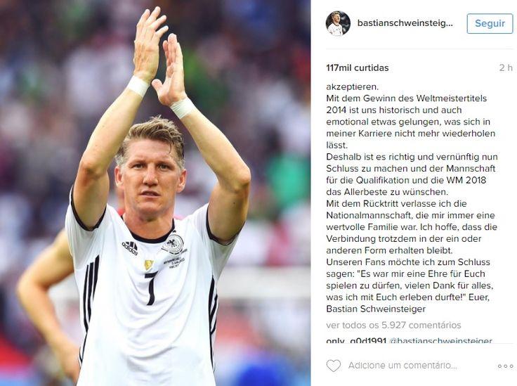 """Schweinsteiger anuncia aposentadoria da seleção alemã: """"Obrigado por tudo"""" #globoesporte"""