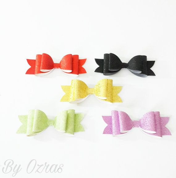 Faux Leather Glitter  Bows Oversized Leatherette by MadeByOzras