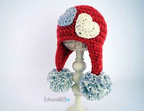 Crochet Sweet Heart Hat. Free pattern and video tutorial from B.hooked Crochet.