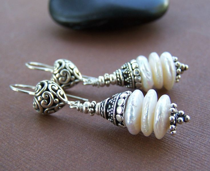 Wedded Bliss Earrings - Freshwater Coin Pearl Stack and Sterling Silver. $64.00, via Etsy.