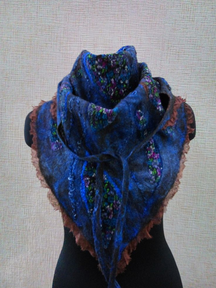 Felted scarf, Women scarf, warm scarf, merino scarf, baktus female, baktus wool, beautiful baktus, beautiful scarf, blue scarf, blue baktus by FeltEcoStyle on Etsy