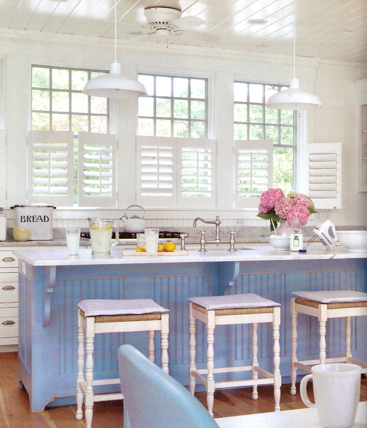 Panels Painted Blue In A White Kitchen. Beach Cottage ... Part 62