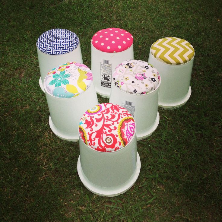 Bucket seats for reading group! So easy to make and cost less than $20 for all!