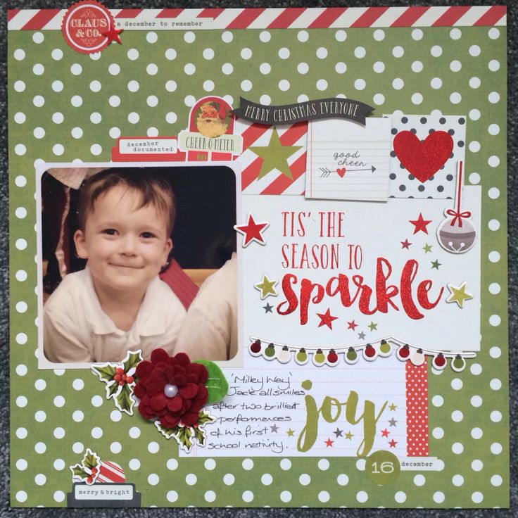 Scrapbook layout using Simple Stories Claus & Co