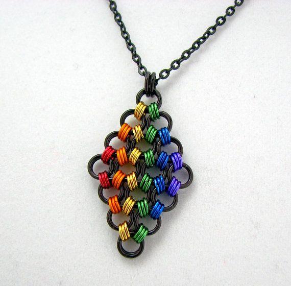 True Colors Rainbow Pride Diamond Herringbone Chainmaille Pendant on Etsy, £21.48