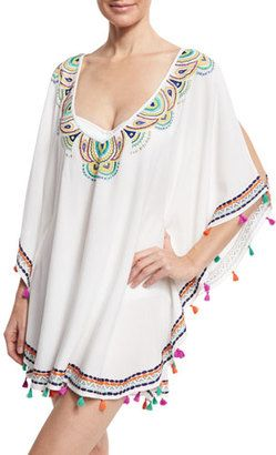 Shop Now - >  https://api.shopstyle.com/action/apiVisitRetailer?id=622351069&pid=uid6996-25233114-59 Trina Turk Paisley Embroidered Caftan Coverup, White/Multicolor  ...