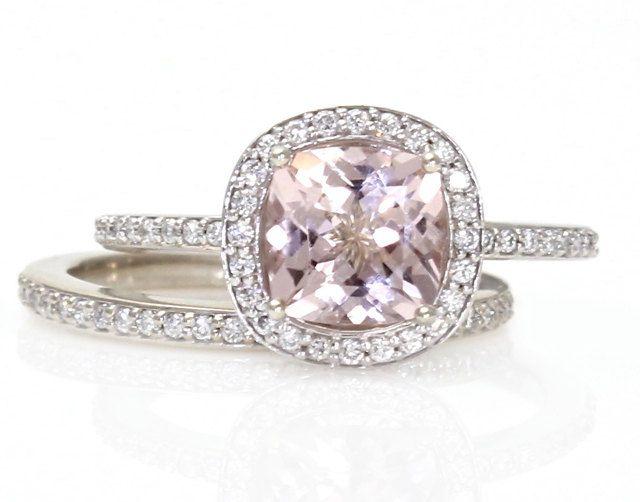 14K Cushion Morganite Engagement Ring & Wedding Band by RareEarth