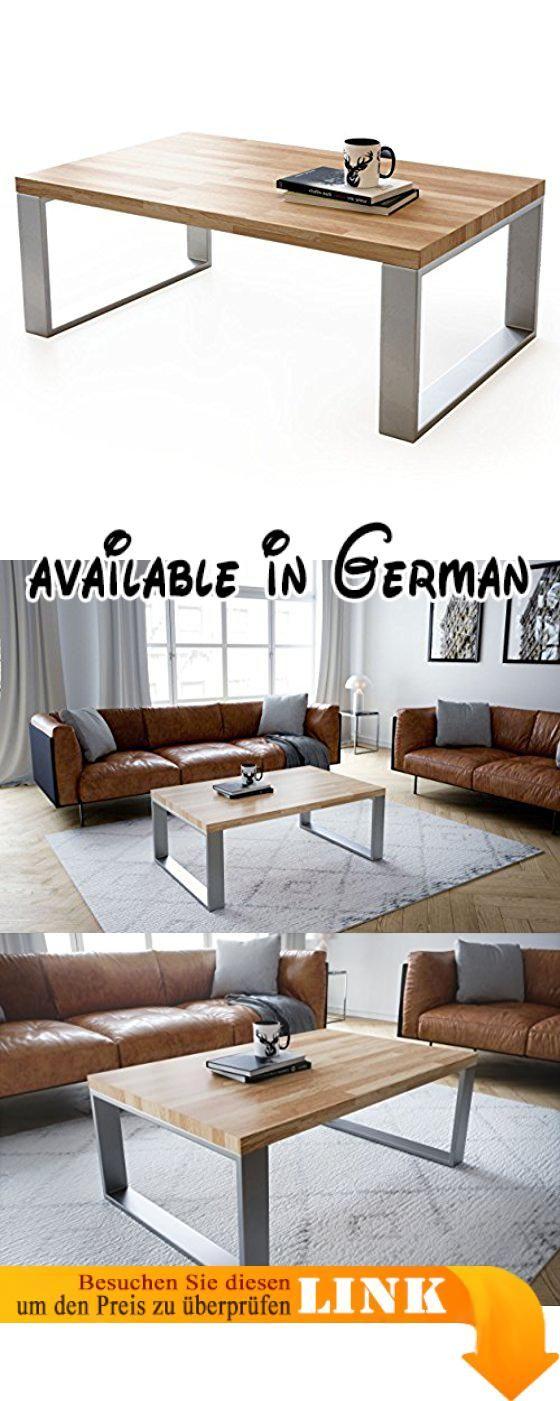 B075QKLR5B : Couchtisch Wohnzimmertisch Braun Holz Wildeiche Metall Silber  Rechteckig 4cm Massivholz Modern. PRAKTISCH: Mit Einer Breite Von 110 Cm  Und ...