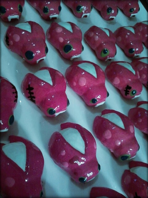 Glow in the dark ladybirds ready for their installation day in June at the Brick Bay Sculpture Trail.