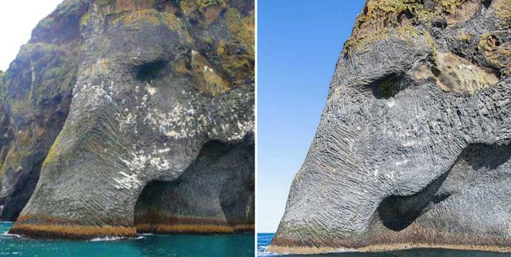 Here's a cliff in Iceland that looks like an elephant