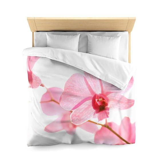 Floral Duvet cover, Minimalist bedding, Designer Duvet Cover, White Pink Duvet cover, Minimalist Duvet Cover, Microfiber, Bedding,Home Decor