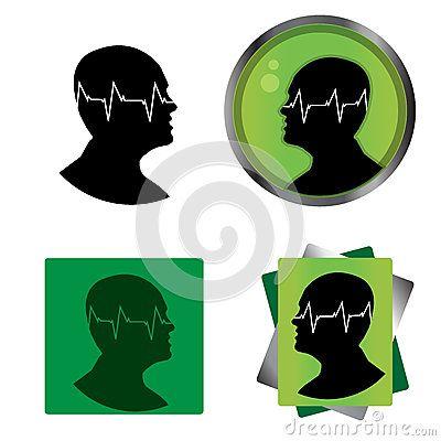 Pulse of the human mind. vector illustration. Head icon