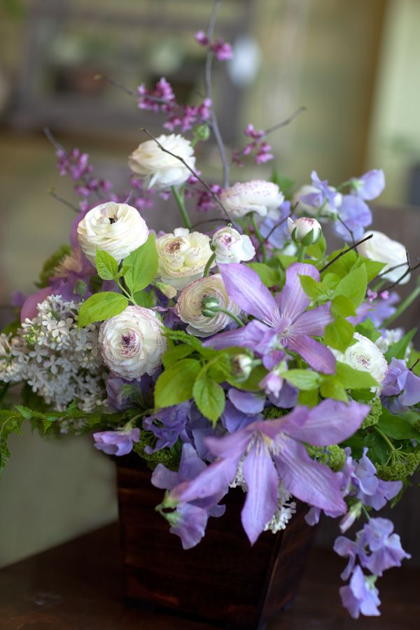 Wedding Flower Arrangement with RedBud, Lilac, Clematis, Sweetpea, and Ranunculus
