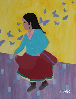 Painting and Texture: Acrylic Painting: Dancing Girl -Triptych (1) Contemporary Painting
