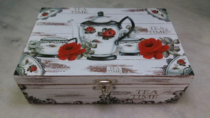 Caixa para chá pátina - www.elo7.com.br/esterartes